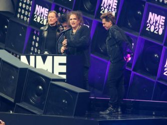 LONDON, ENGLAND - FEBRUARY 12:  Robert Smith of The Cure accepts the Best Festival Headliner award at The NME Awards 2020 at the O2 Academy Brixton on February 12, 2020 in London, England.  (Photo by David M. Benett/Dave Benett/Getty Images)